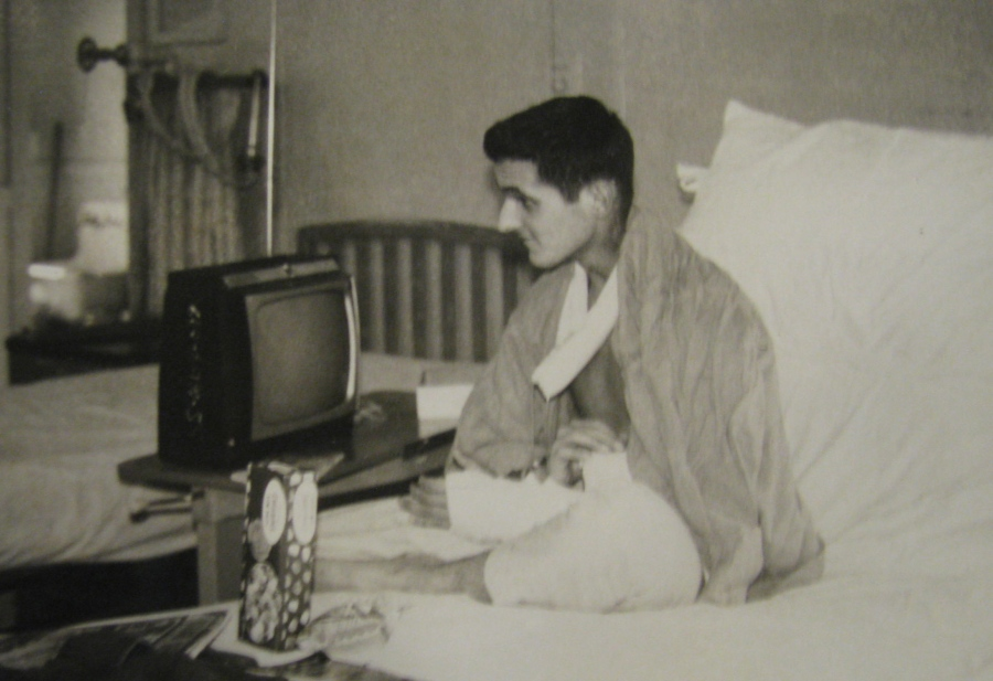 Ron Heurlin is pictured in a hospital bed in Chelsea Naval Hospital in Chelsea, Mass. after being wounded three times in the chest, neck and shoulder during a firefight in Vietnam in 1966. Photo provided