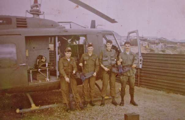 This was Stivers' Huey helicopter crew in Vietnam. He's the guy second from the left who piloted the aircraft. Photo provided