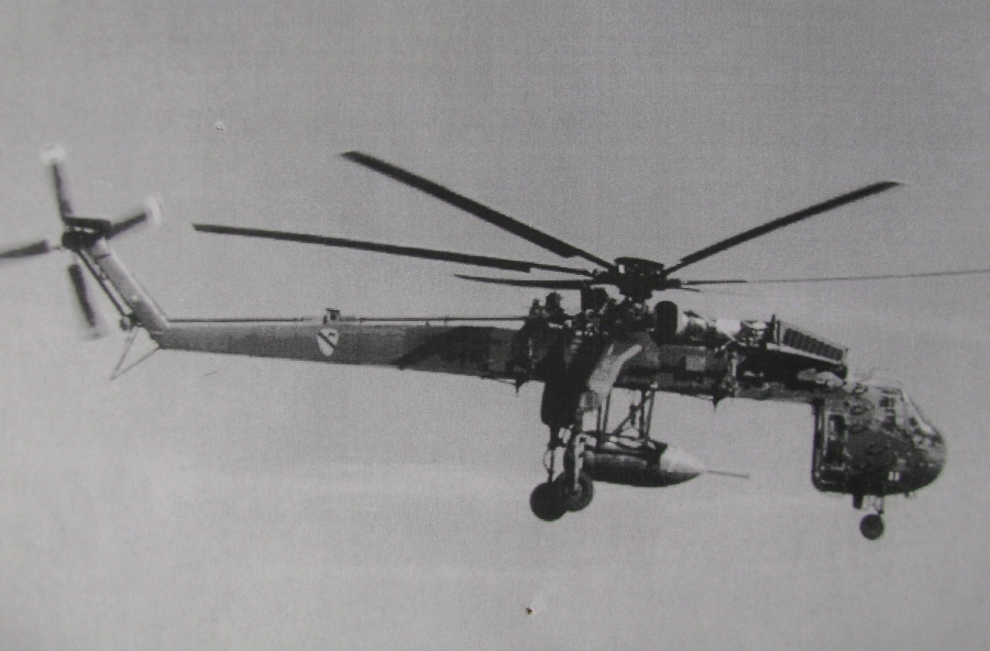 This Sky Crane Sikorsky helicopter is shown carrying a 500 pound bomb. For years Stivers taught pilots how to fly these big heavy-lift helicopters. Photo provided