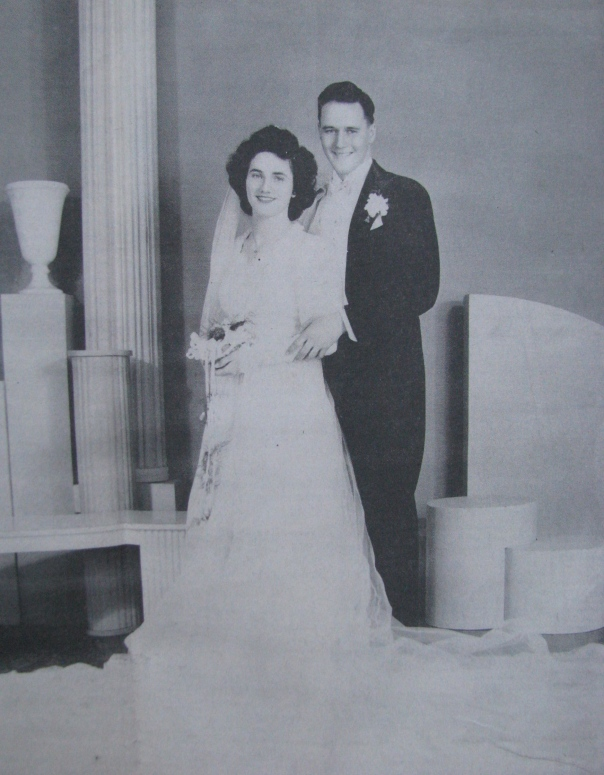 Kate and Bill Bingham were married Feb. 16, 1946 at St. Agnes Catholic Church in Chicago. She is wearing a wedding dress made from the silk parachute that saved his life during World War II. Photo provided