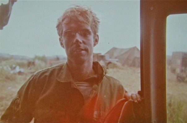 "Pvt. Geoffrey Morris of Venice, Fla. is pictured beside his Huey Medavac helicopter at Khe Sanh, Vietnam in March 1971. He was awarded a ""Silver Star"" for heroism while serving as a medic aboard one of these life-saving choppers in 'Nam. Photo provided"