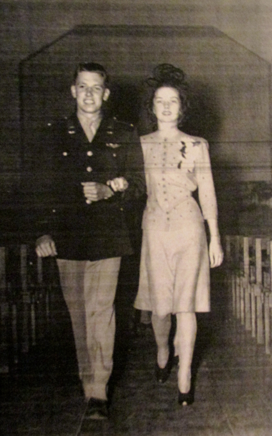 The day 2nd Lt. haase received his wings he married Jean. The couple walks down the aisle in a brief wedding ceremony on Oct. 9, 1941. This year they celebrated their 65th wedding anniversary. Photo provided