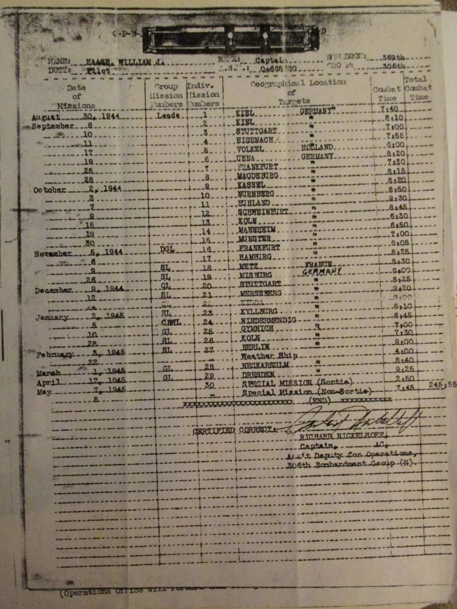 Haase's Mission Log lists 30 bomb runs his B-17 crew made beginning on Aug. 30, 1944 and running until May 1945 over Germany, Holland and France.