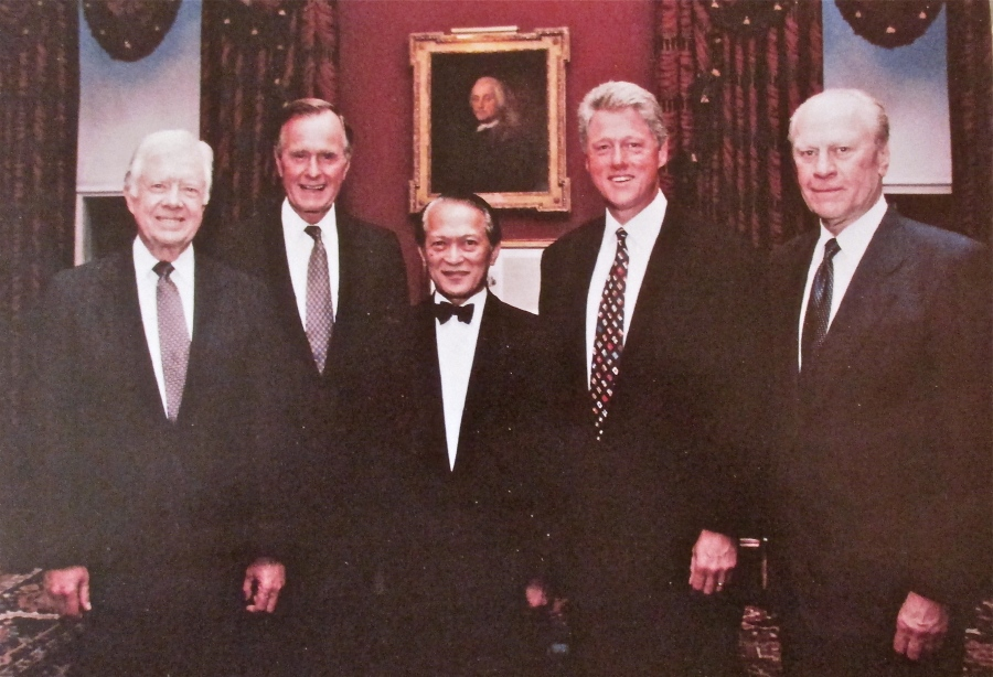 Valet and Master Chief Ricardo Sanvictores is flanked in 1993 by four of the seven presidents he served during the 30 years he worked in the White House. From the left: President Jimmy Carter, President George H.W. Bush, Ricardo, President Bill Clinton and President Gerald Ford. Photo provided