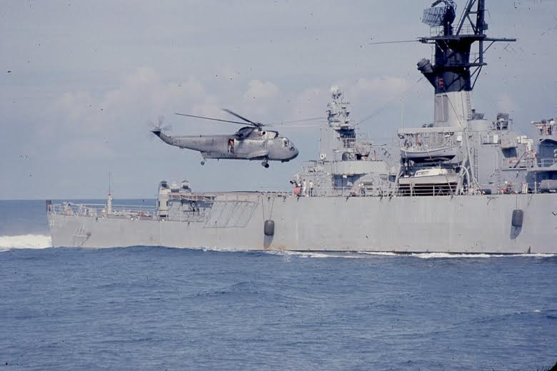 """Big Mother,"" a Sea King helicopter returns to the Essex Class Carrier USS Kitty Hawk after plucking Cmdr. Mace Gilfrey out of Tonkin Gulf off the coast of North Vietnam during the war. Nielsen was the cable operator who hoisted the downed pilot out of the drink and into the chopper. Photo provided"