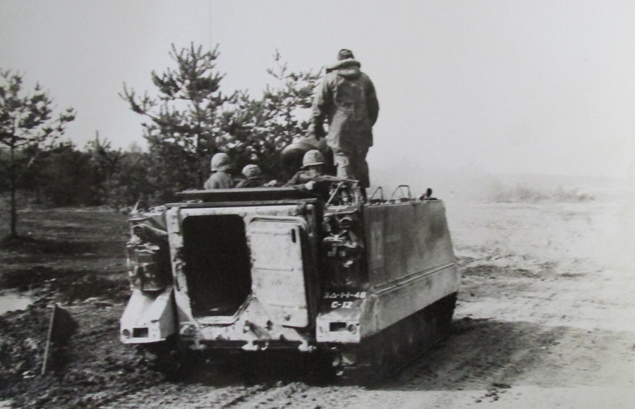 Cpl. Al Beyer fires a .50 caliber machine gun on a 114 Troop Transport during maneuvers in Germany in the 1960s. His 3rd Armored Division was toe-to-toe with the Russians in the Fulga Gap along the German border. Photo provided
