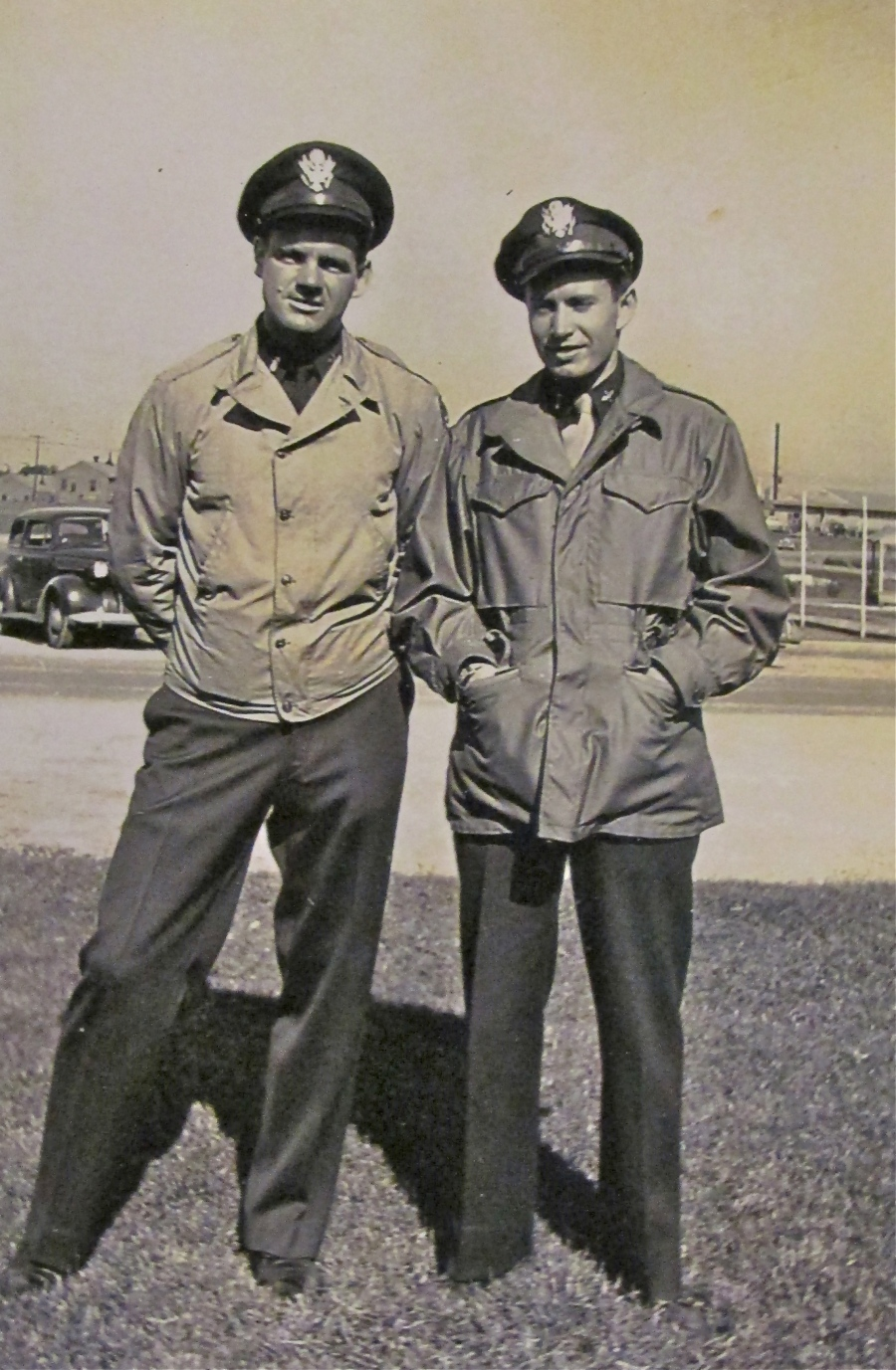 Hughes (right) stand with Bill Brooks, his bombardier, shot down with another B-25 crew over German held territory. Brooks and the co-pilot of the other plane were killed by their German captives. Photo provided