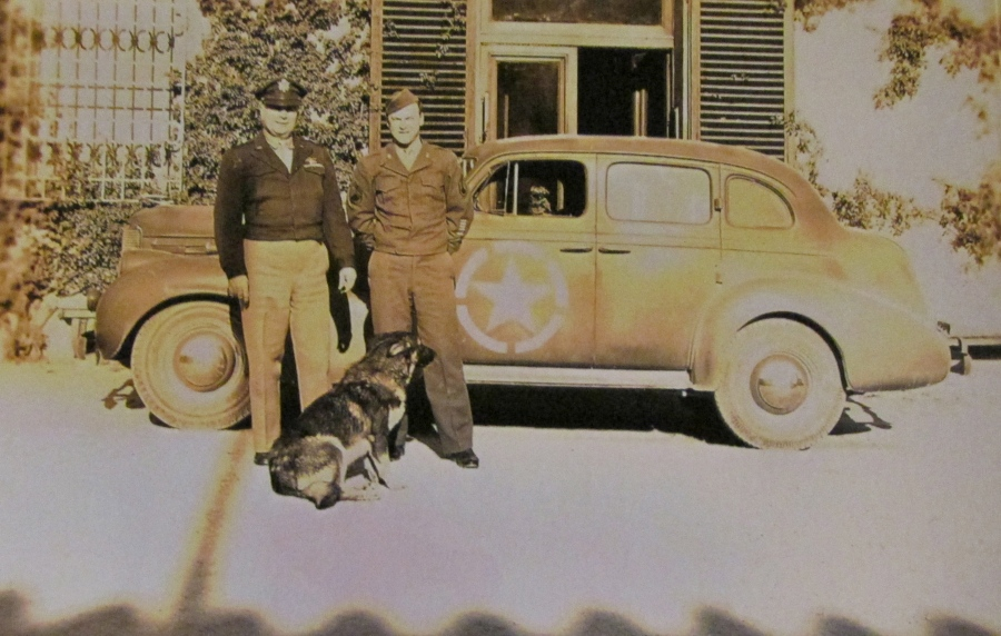Brigadier General and his chaueffeur are pictured outside their Italian villa with the general's personal car. Photo provided