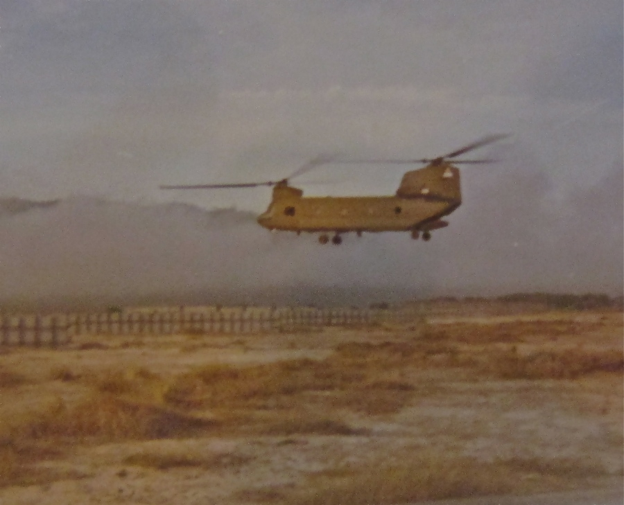 A Chinook is pictured flying over the Delta country in South Vietnam during the war in 1970. Photo provided