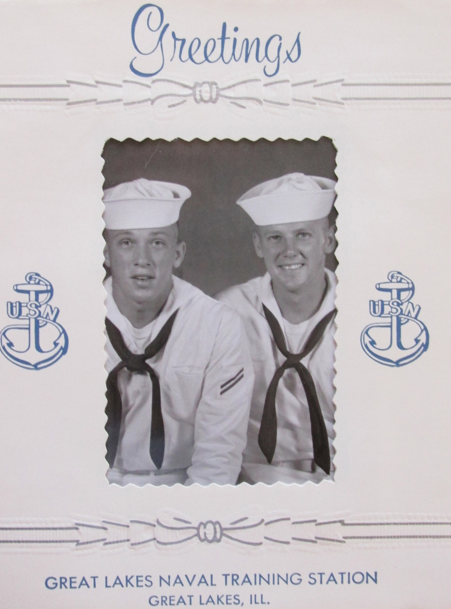 Seaman Jim Manning (left) and his buddy Lyle Hokenson about the time they got out of boot camp at Great Lakes Naval Receiving Center near Chicago in 1961, Photo provided