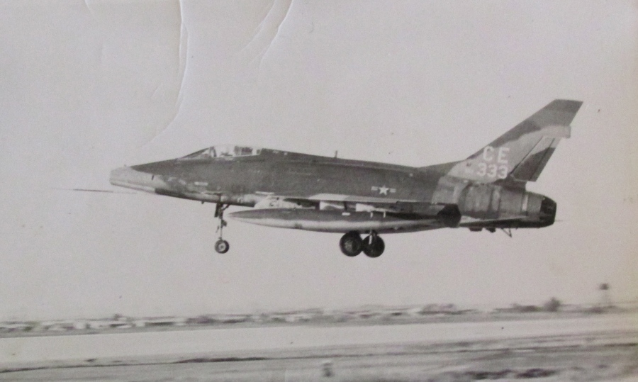 An F-100 North American Super Sabre is airborne at Bien Hoa Air Force Base at Vietnam. This was the kind of jet Freeman served as weapons specialist on. Photo provided