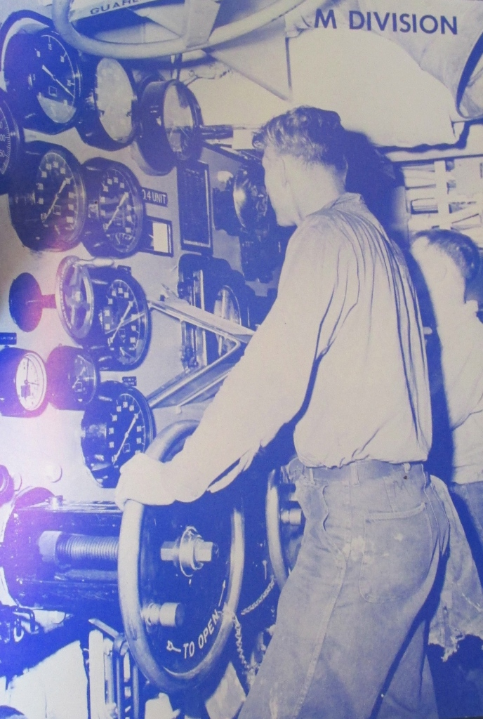 Mack is pictured on the throttle in the aft engine-room of the Essex Class carrier USS Ticonderoga in the 1950s. Photo provided