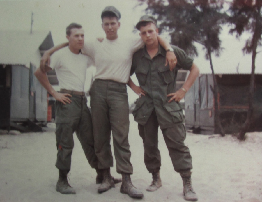 Cpl. Gettle (center) was the lone survivor. His two buddies who were also in his helicopter support group in Vietnam in 1968 were both killed in fighting over there. Photo provided