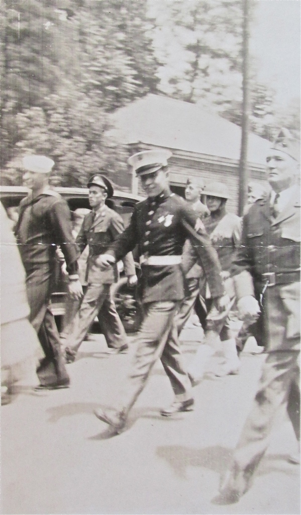 Marine Pfc. Gasper Buffa marches in the Memorial Day Parade on May 31, 1941 in Glenn Cove, N.Y. six months before the Japanese attacked Pearl Harbor dragging the U.S. into the Second World War. Photo provided
