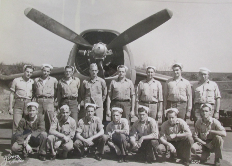 Buffa attended aircraft engine school in Jacksonville in 1941. He is the Marine second from the left squatting. Photo provided