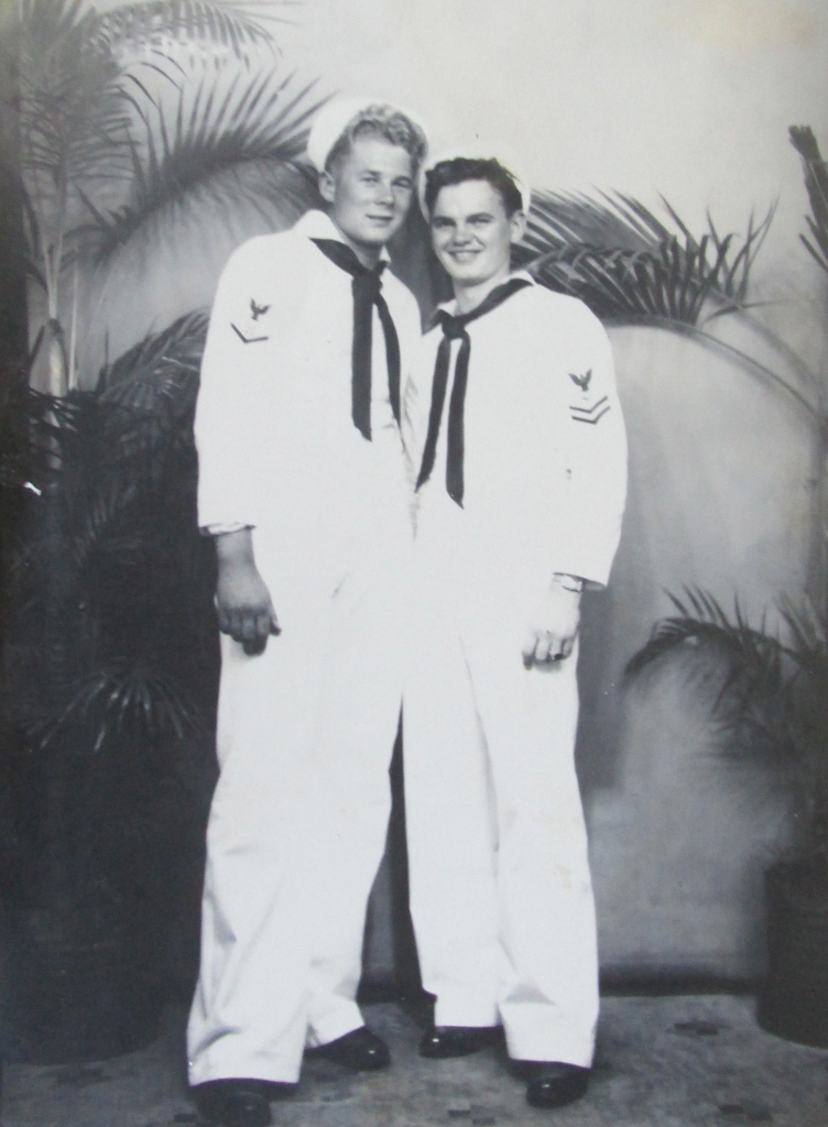 Clarence Moore of Englewood and Paul Kosar getting their picture taken at Pearl Harbor near the end of World War II. Photo provided