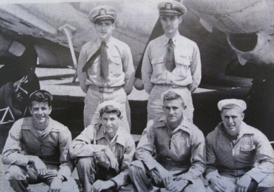 This is Bob Burdick's crew that flew a Ventura twin-engine Navy patrol plane in the Pacific during World War II. He's the guy squatting at the far right. Photo provided