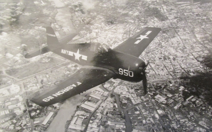 "Davis was flying this Grumman F-4-F ""Wildcat."" Any time he got a chance he was behind the controls of a fighter and gave it a workout. Photo provided"
