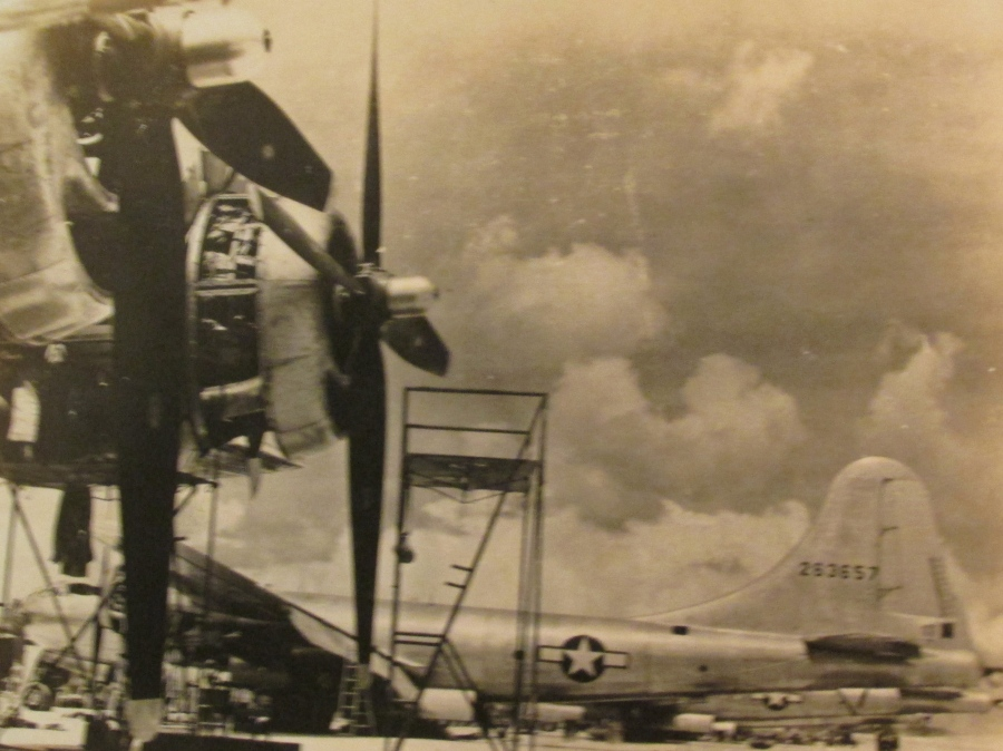 "These were two of the first B-29 ""Super Fortresses"" to land on Saipan after the Hope's 23rd Navel Construction Battalion lengthened and widened the runway originally built by the Japanese as a fighter base. Photo provided"