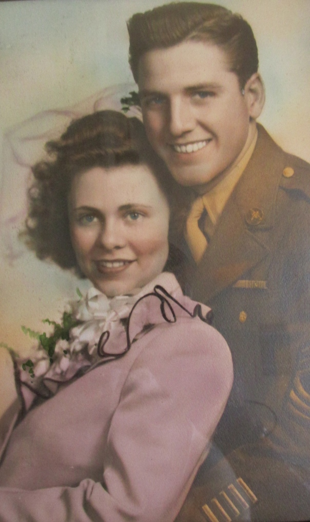 Muggie and John Spatharos are shown in their wedding photo. They were married on Pearl Harbor Day, Dec. 7, 1944, a week after he was discharged from the Air Force after serving in New Guinea during World War II. Photo provided