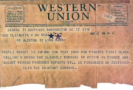 Sad tale: Pvt. William McWha's mother received this telegram from the Army shortly after he was wounded in Europe the first time. The old soldier says he can imagine the grief the wire put his mother through.