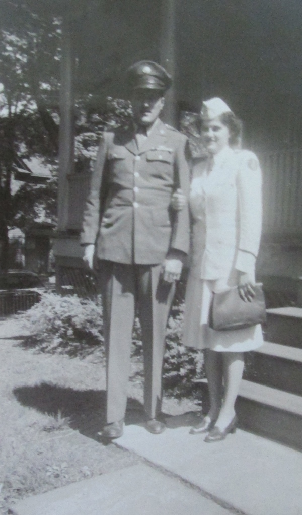 Marie is pictured in her nurse's uniform with her brother, Nick, who was also in the service, outside their parent's home in Scranton, Pa. during World War II. Photo provided