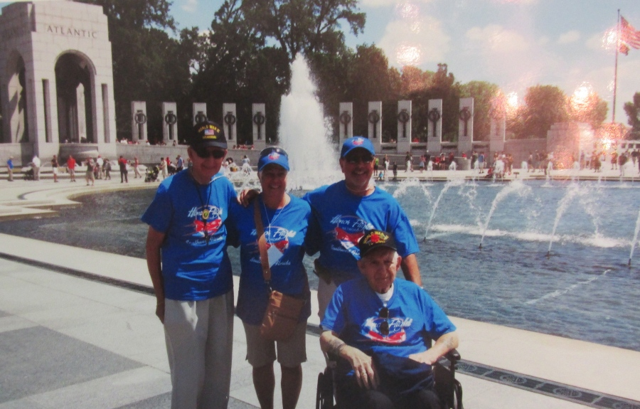 Jones is standing at the far left in front of the World War II Memorial on the Mall in Washington, D.C. He was part of the Southwest Florida Honor Flight that took the one-day trip to the capital on June 14, 2014. Photo provided