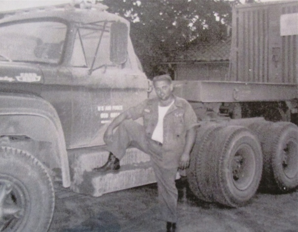 Sgt. Hammond with his 18-wheeler at Osan Air Force Base in Korea in the 1950s. Photo provided