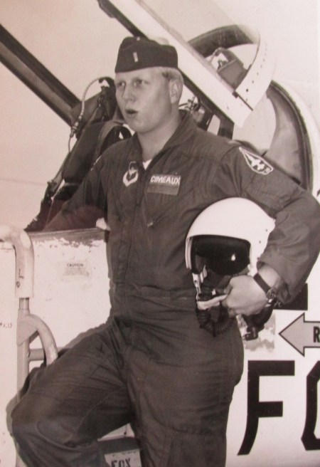 "2nd Lt. Joe Comeaux of Punta Gorda Isles beside his T-38 ""Talon"" jet trainer at Craig Air Force Base, Selma, Ala. He was 22 when he soloed. Photo provided."