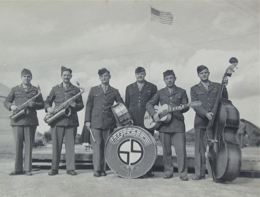 This is the 69th Hospital Band that played for the officers in North Africa and France during World War II.  Walther is the musician with the bass at the far right. Photo provided