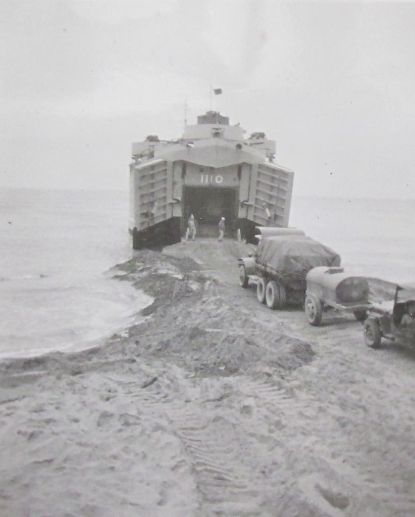 An LST (Landing Ship Tank) Wyld served on is loaded with rolling stock during maneuvers in San Diego, Calif. in the 1950s. Photo provided