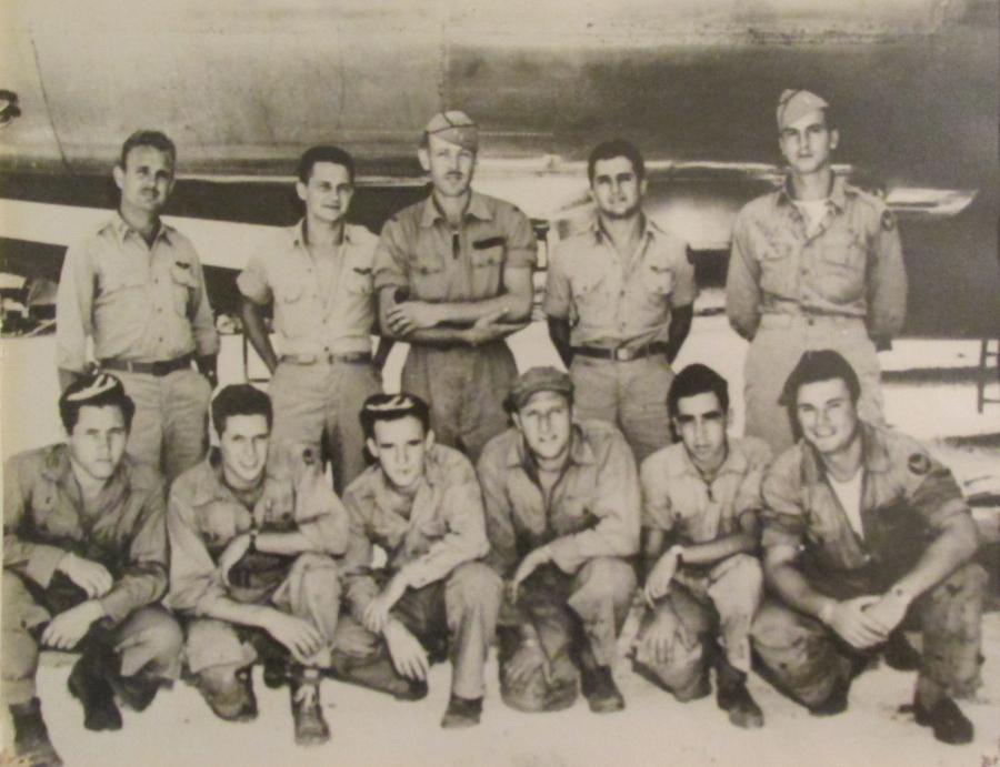 "Weiler and the crew of the bomber ""Sky Scrapper"" shot down on it's 14th bombing mission in WW II.  Front Row (Kneeling) L to R: S/Sgt James Wyckoff, Right Gunner; S/Sgt James Schwoegler, Radio Op; T/Sgt Edward Kanick, Flight Engineer (lost during that 14th missions); Sgt Robert Weiler, Left Gunner; S/Sgt Pasquale Mastromatteo, Tail Gunner; T/Sgt Ralph Gervias, CFC Gunner.   Back Row (Standing) L to R: 2nd Lt James Frodsham, Pilot; 1st Lt John Blake, Bomb; Capt William Orr, Airplane Commander; 1st Lt William Costa, Navigator; 1st Lt Arthur Swanburg; Radar ObserverPhoto provided"