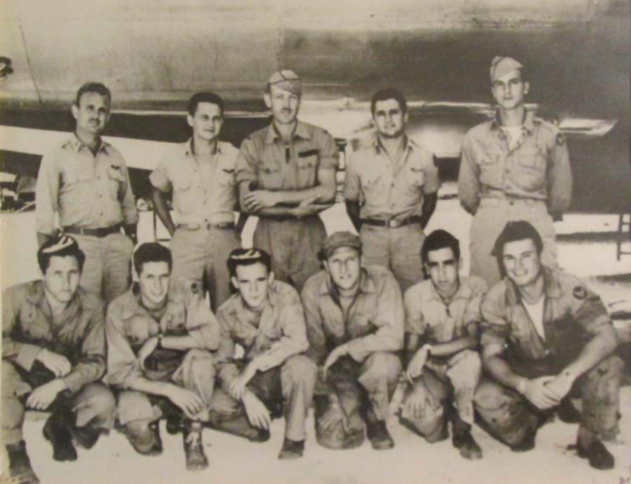"Weiler and the crew of the bomber ""Sky Scrapper"" shot down on it's 14th bombing mission in WW II.  Front Row (Kneeling) L to R: S/Sgt James Wyckoff, Right Gunner; S/Sgt James Schwoegler, Radio Op; T/Sgt Edward Kanick, Flight Engineer (lost during that 14th missions); Sgt Robert Weiler, Left Gunner; S/Sgt Pasquale Mastromatteo, Tail Gunner; T/Sgt Ralph Gervias, CFC Gunner.   Back Row (Standing) L to R: 2nd Lt James Frodsham, Pilot; 1st Lt John Blake, Bomb; Capt William Orr, Airplane Commander; 1st Lt William Costa, Navigator; 1st Lt Arthur Swanburg; Radar ObserverPhoto provided"