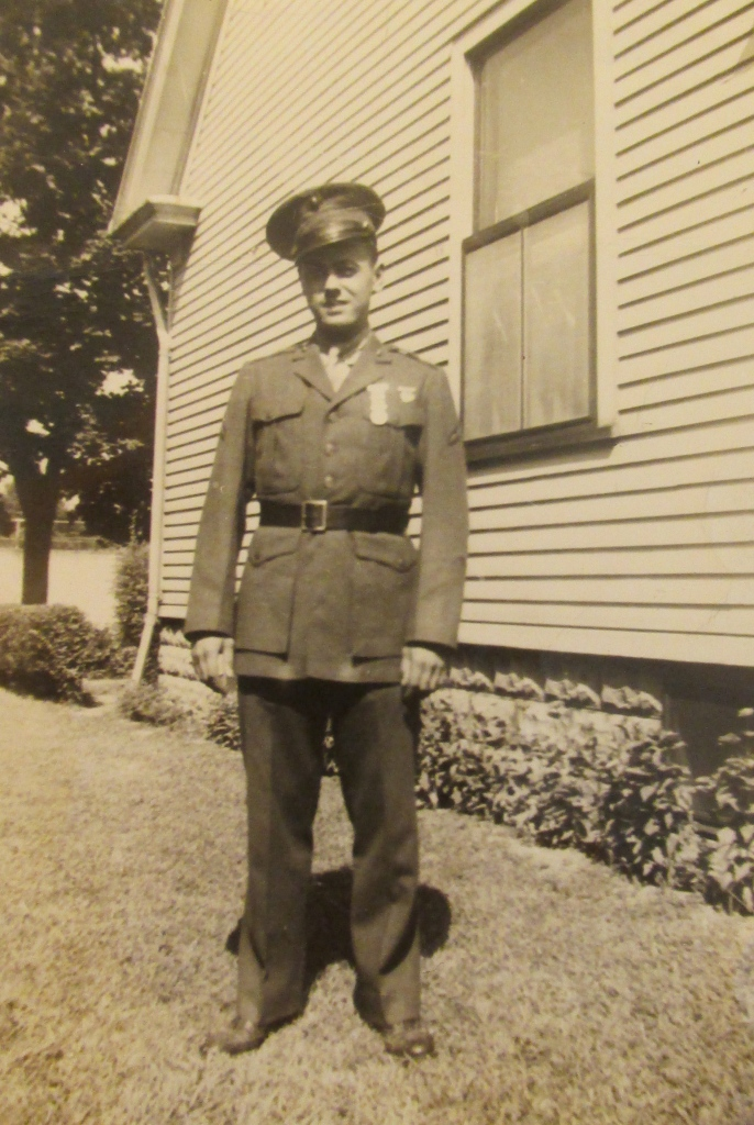 Pfc. Trott outside his parents' home in Fort Wayne, Ind. before he shipped overseas in 1944. Photo provided
