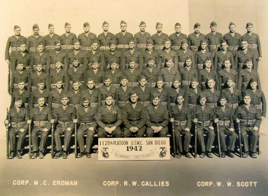 At camp in San Diego the graduation picture shows Pfc. Trott in the second row, fifth from the left. Photo provided