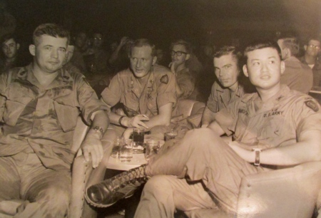 Eshelman is at the far left and Capt. Eric Shinseki, who later became Army Chief of Staff when George W. Bush was president, at right attended his going away party in Vietnam when they both served in the 24th Corps in November 1969. Photo provided