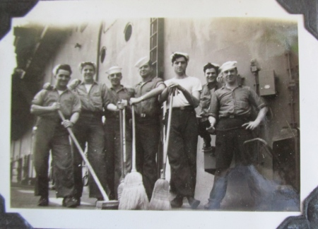 Swabbies do their thing aboard ship. Roaf is second from the left. Photo provided