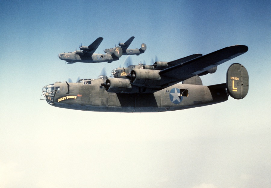 "A flight of B-24 ""Liberator"" four-engine bombers were on a bombin run to knock out railroad yards near Münster, Germany in March 1945. Photo provided by Wikipedia Commons"