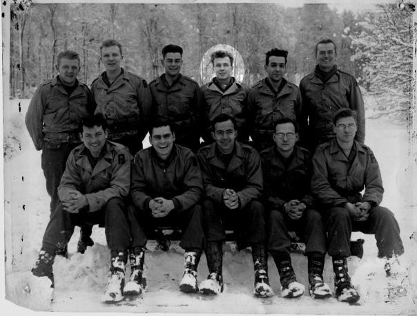 Sgt. George Eyster and his buddies of the 254th Engineering Battalion attached to the 29th Division of Gen. Omar Bradly's 1st Army. This 70-year old photo was taken just prior to the Battle of the Bulge that began in the middle of December 1944. George is back row fourth from the left. Photo courtesy by George Eyster II