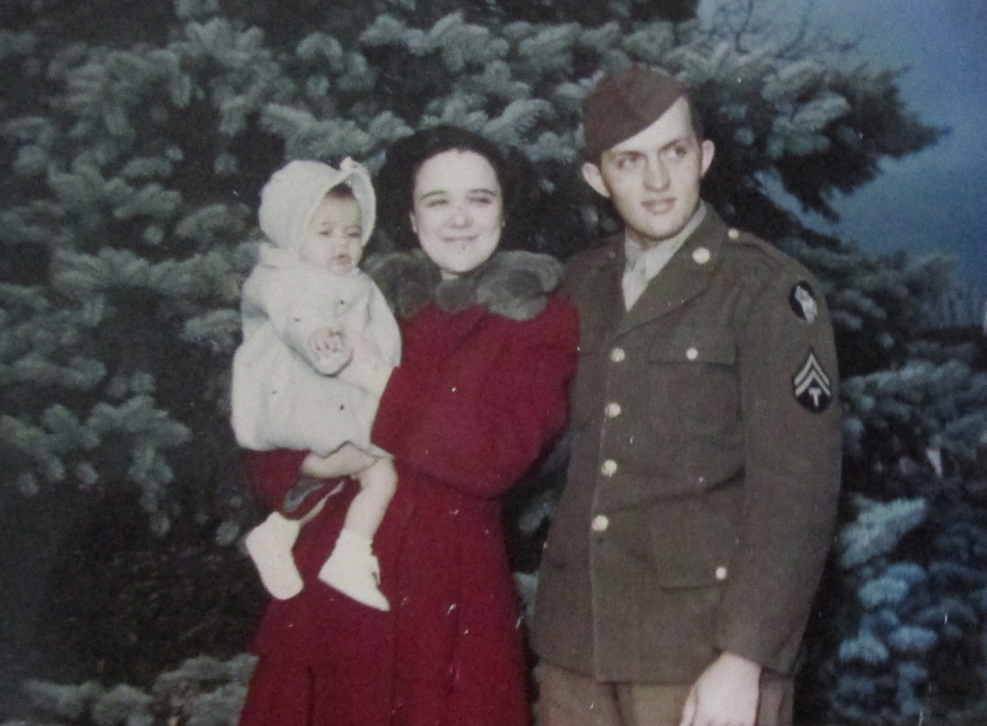 At Christmas 1942 Ralph Cook of Venice with his wife, Dorothy, and their first child, Janice, at home in Lakeside, Mich. Photo provided
