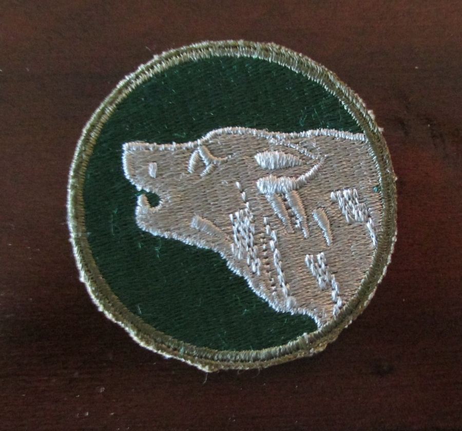 The 104th Timberwolf Division shoulder patch was the one worn by Ralph Cook in Europe during the Second World War. The division was commanded by Gen. Terry Allen who had commanded the 1st Army earlier in the war. Sun Photo by Don Moore