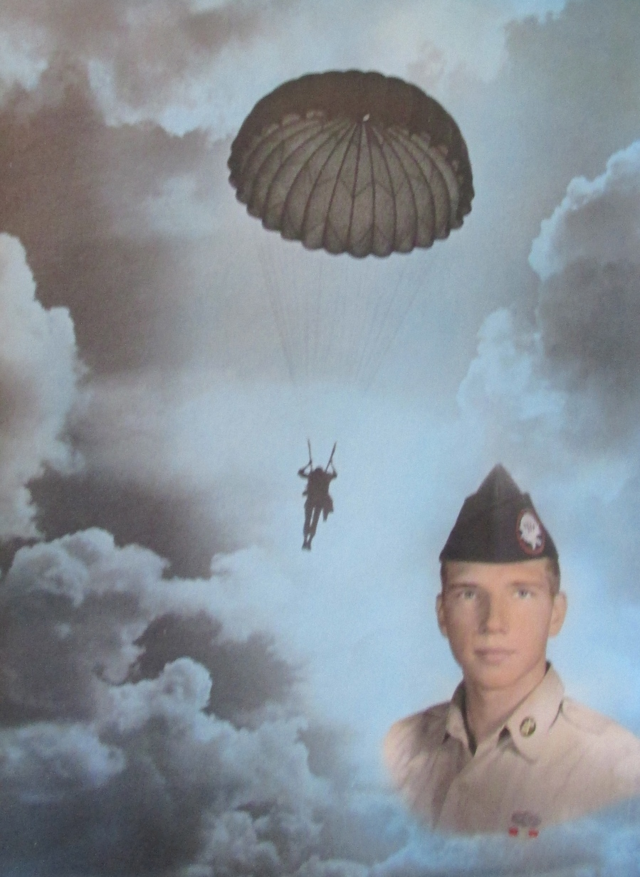 This picture of Donald Hirkey of North Port is on the wall of his office. It pictures him as a 17-year-old airborne trooper before he made his first parachute jump in the mid-1960s during the Vietnam War. Photo provided