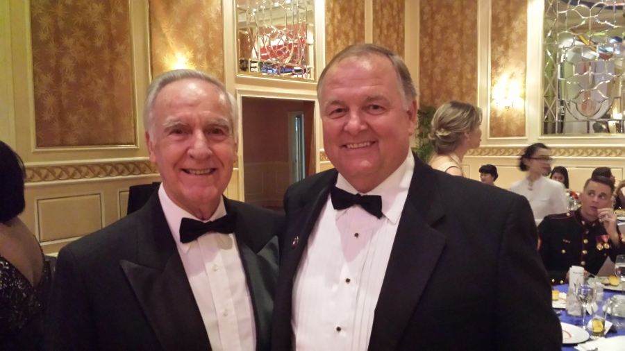 Ambassador Pete Peterson (L) and Randy Smith all decked out for the Marine Corps Ball in Saigon. Photo provided