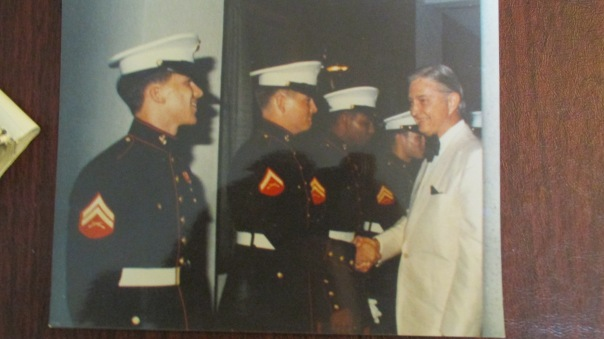Lance Cpl. Randy Smith of Venice shakes hands with Ambassador Graham Martin during the Marine Corps Birthday Ball at the American Embassy in Saigon on Nov. 10, 1974, a year before the United States pulled out of the Vietnam War. Photo Provided