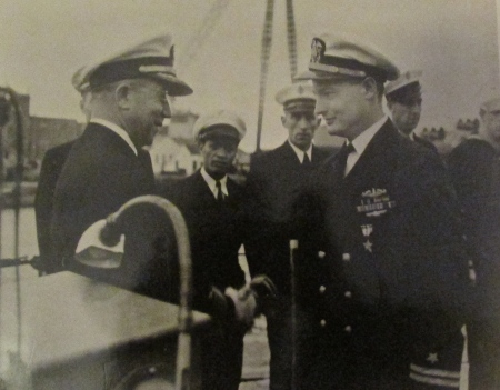 Lt. Bob Erwin (right) of North Port receives the Silver Star from the skipper of his submarine, USS Parche (SS-384), for one of the five combat patrols he made into the Pacific during World War II. Photo provided