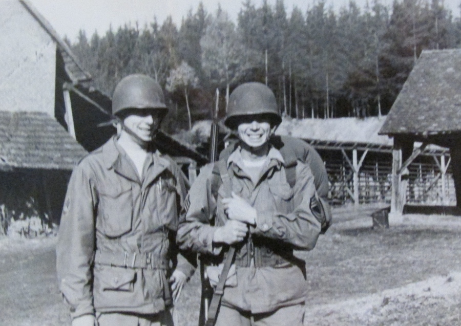 `1st. Sgt. Howard Godkson (left) and Rudy Raymond pictured in Germany about the time they took the company commander's Jeep and drove to a restaurant across the East German border. Photo provided