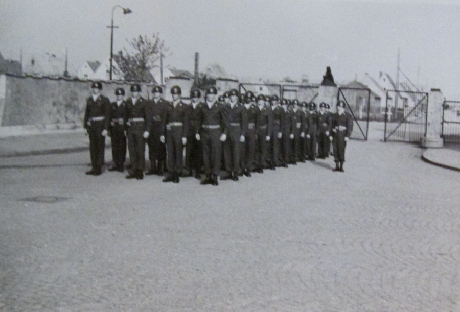 Sgt. Raymond with his platoon at Fort Pickett, Va. before the whole unit was sent to Germany during the start of the Korean War. Photo provided