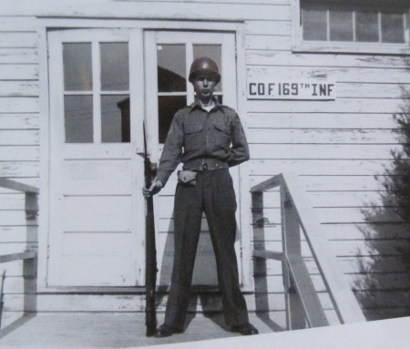 Sgt. Rudy Raymond is on guard duty at Fort Pickett, Va. in 1950 during the start of the Korean War. His National Guard unit had just been activated. Photo provided