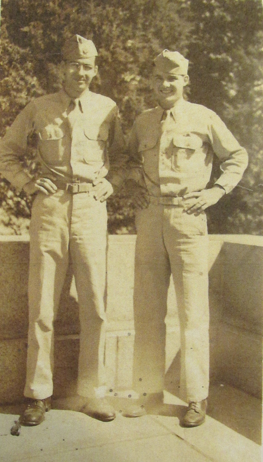 Cliff (right) and his older brother, Weston, in their Army uniforms during the war. Photo provided