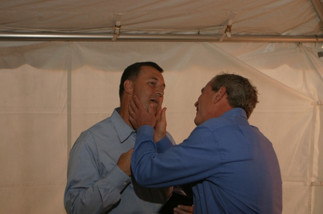 President George W. Bush is checking out Ponkratz's jaw that was injured in the IED explosion in Iraq. They met in a Green Bay, Wis. hotel room while he was campaigning. Photo provided